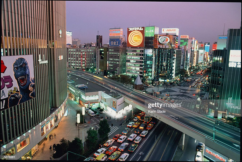 Japan, Tokyo, Ginza District, traffic congestion, elevated view : Stock Photo