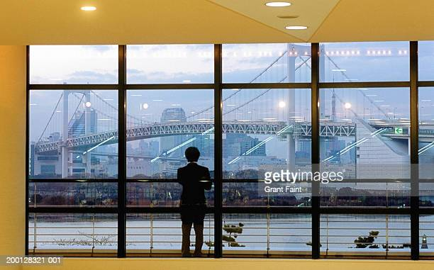Japan, Tokyo, man looking at Rainbow Bridge through window, rear view
