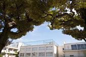 Japan, Tokyo, Meguro Ward, exterior of elementary school