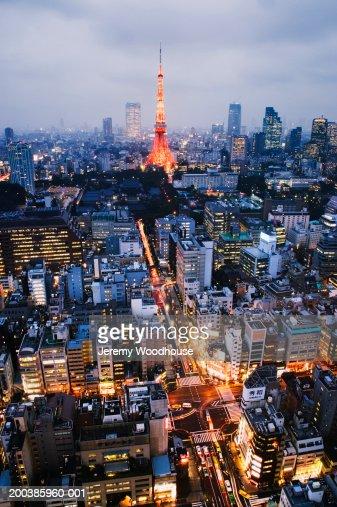 Japan Tokyo Minato Ward Cityscape And Tokyo Tower At Dusk Stock Photo  Getty...