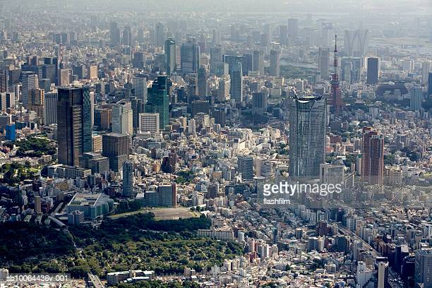 Japan, Tokyo, Mori Tower and city, aerial view