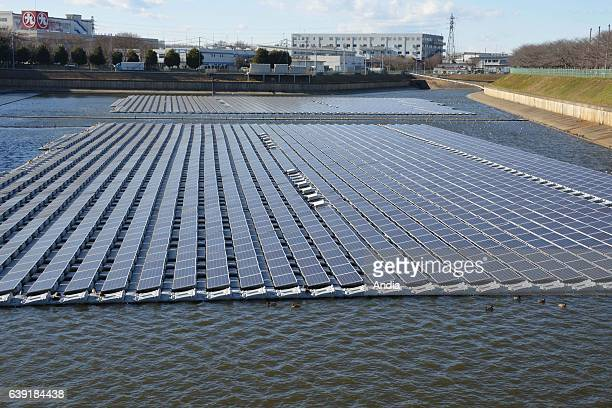 'SolarontheWater' floating solar plant in Okegawa on the Saitama on a water reservoir north of Tokyo Approximately 4500 solar panels are floating on...