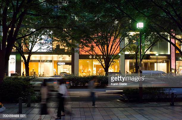 Japan, Tokyo, Omotesando, street scene at dusk (blurred motion)