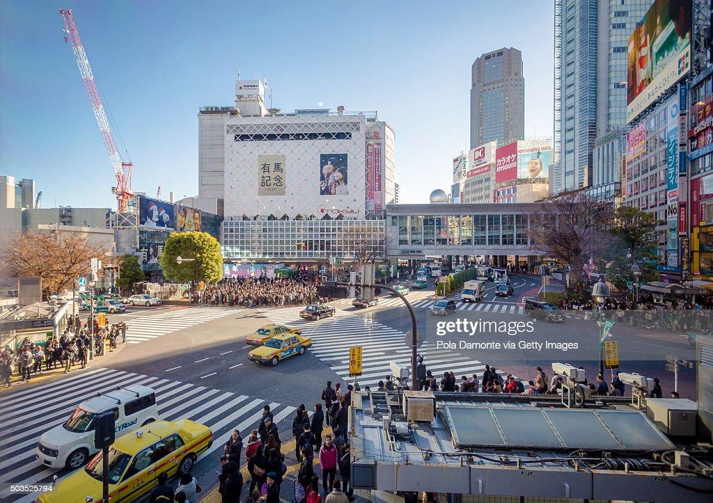 Japan, Tokyo, pedestrians waiting on Shibuya crossing, elevated view