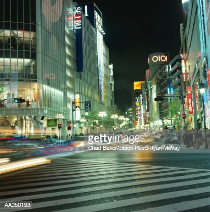 Japan, Tokyo, Shibuya District, night (long exposure) : Stock Photo