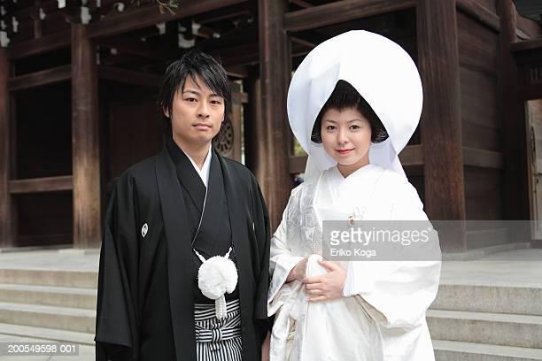 Japan, Tokyo, Shibuya Ward, bride and groom, portrait