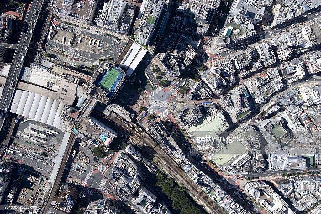 Japan, Tokyo, Shibuya-ku, Shibuya Station, aerial view : Stock Photo