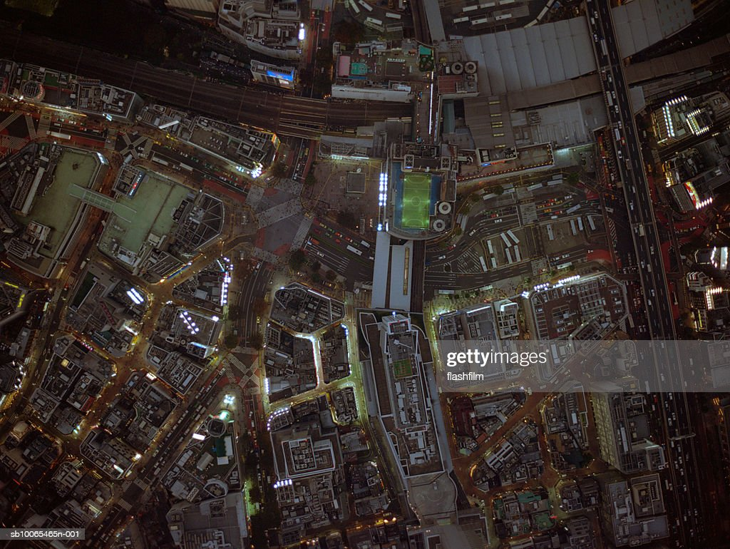 Japan, Tokyo, Shibuya-ku, Shibuya Station, aerial view, shot directly above at night : Stock Photo