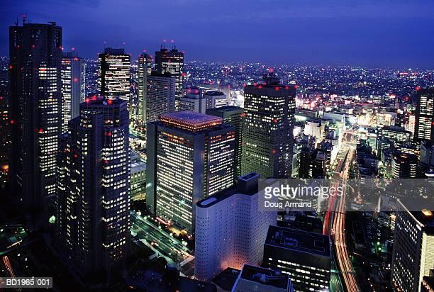 Japan, Tokyo, Shinjuku District, at night, aerial view (Enhancement)