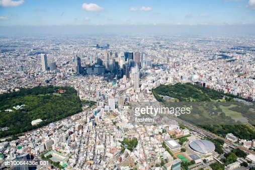 Japan, Tokyo, Shinjuku, Tokyo Metropolitan City Hall in the center, aerial view : Stock Photo
