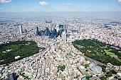 Japan, Tokyo, Shinjuku, Tokyo Metropolitan City Hall in the center, aerial view