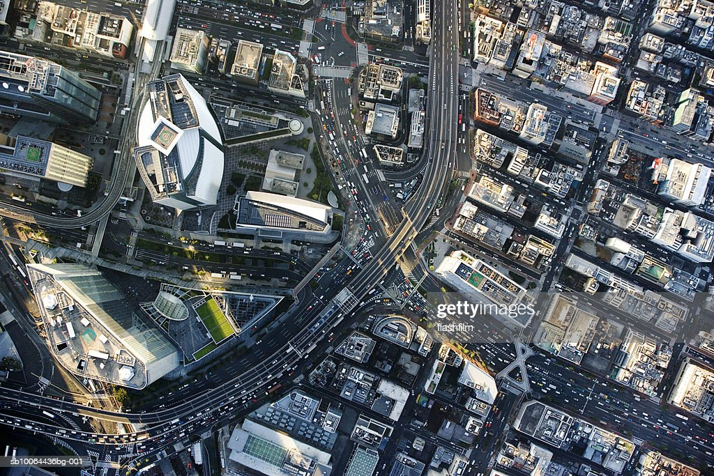 Japan, Tokyo, Shiodome, aerial view : Stock Photo
