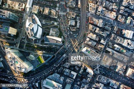 Japan, Tokyo, Shiodome, aerial view : Bildbanksbilder