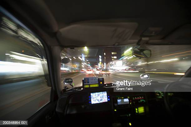Japan, Tokyo, taxi driving (blurred motion)