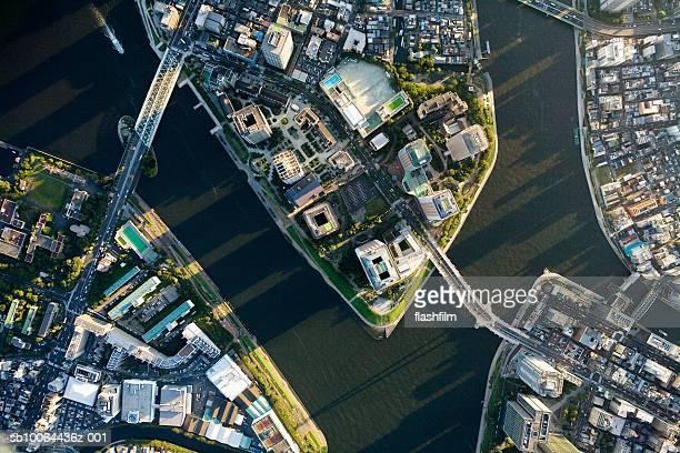 Japan, Tokyo, Tsukuda, aerial view
