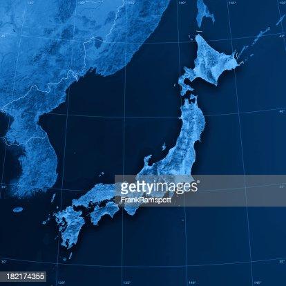 Japão Topographic mapa