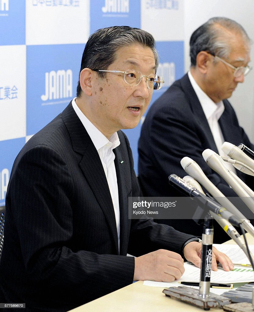 TOKYO Japan Toshiyuki Shiga chairman of the Japan Automobile Manufacturers Association speaks at a news conference in Tokyo on May 19 2011 JAMA said...
