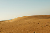 Japan, Tottori, Person standing on sand dune in dessert