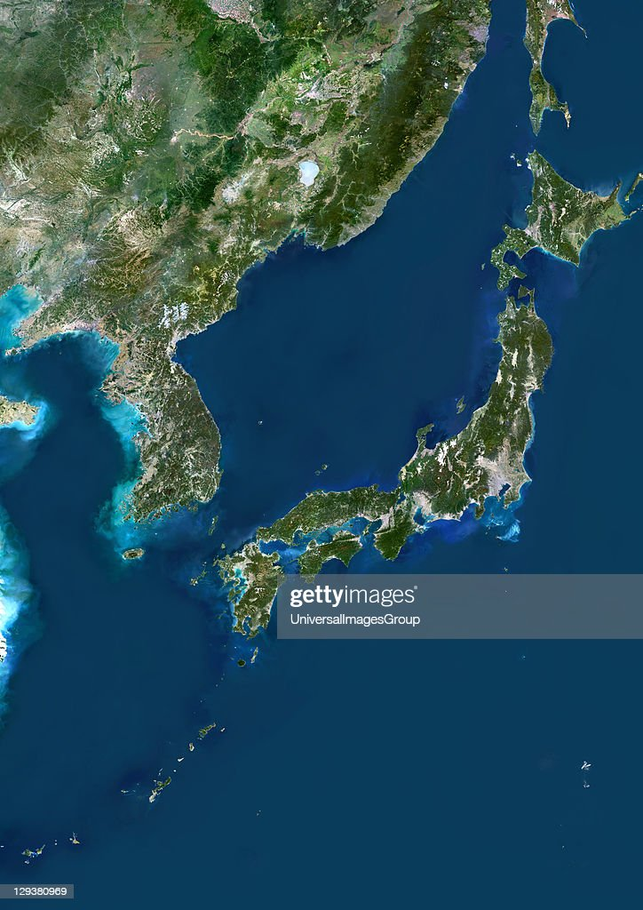 Japan True Colour Satellite Image Pictures Getty Images - Japan map satellite