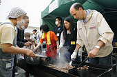 OTSUCHI Japan US Ambassador to Japan John Roos takes part in a barbecue for people affected by the March 11 earthquake and tsunami at Otsuchi High...