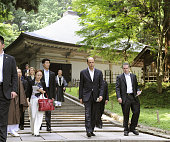 HIRAIZUMI Japan US Ambassador to Japan John Roos tours the Golden Hall of Chusonji one of the Buddhist temples in the ancient town of Hiraizumi a...