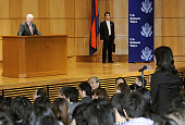 TOKYO Japan US Defense Secretary Robert Gates listens to a student's question as he spoke at Keio University in Tokyo on Jan 14 2011 In the speech...