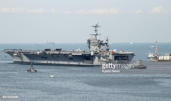 YOKOSUKA Japan US nuclearpowered aircraft carrier George Washington leaves the US Navy base in Yokosuka Kanagawa Prefecture on May 19 for a test...