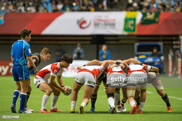 Japan vs Wales scrum during day 2 of the 2017 Canada Sevens Rugby Tournament on March 12 2017 in Vancouver British Columbia Canada
