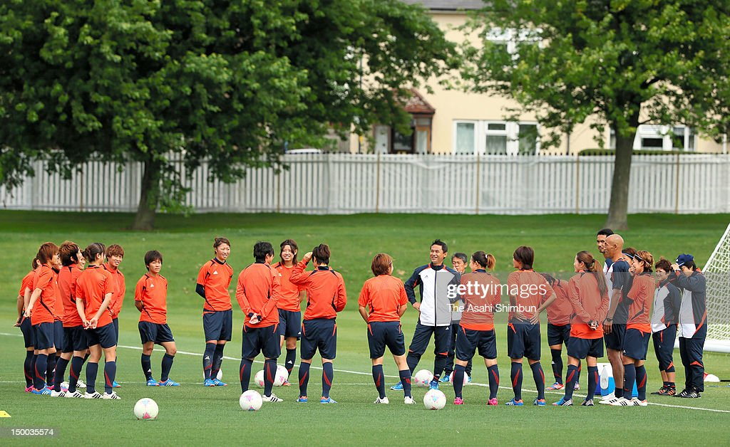 Japan Women's football team attend the training session ahead of the London Olympic Womem's Football final on August 8, 2012 in London, England.