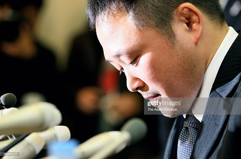 Japan Women's Judo national team head coach <a gi-track='captionPersonalityLinkClicked' href=/galleries/search?phrase=Ryuji+Sonoda&family=editorial&specificpeople=9208148 ng-click='$event.stopPropagation()'>Ryuji Sonoda</a> speaks during a press conference on January 31, 2013 in Tokyo, Japan. Sonoda announced he will resign as head coach of the Japanese women's judo team following revelations he used violence and harassed judoka under him.