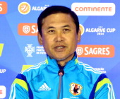 Japan Women's team head coach Norio Sasaki speaks during a press conference ahead of the Algarve Cup final on March 11 2014 in Albufeira Portugal