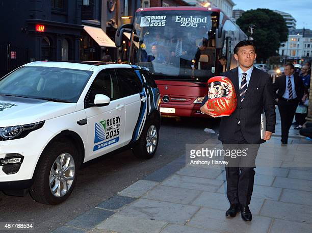Japan World Cup team attends a welcoming ceremony at Brighton Dome on September 11 2015 in Brighton England