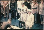 Japan World War II General Mac Arthur attends the capitulation signature