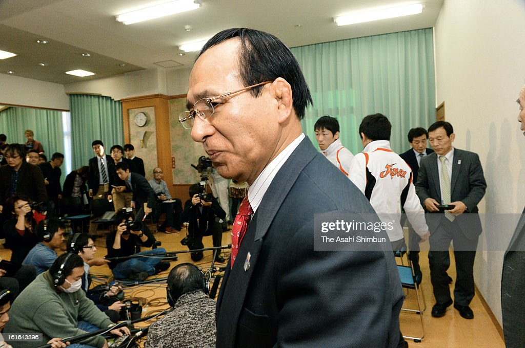 Japan Wrestling Federation President Tomiaki Fukuda leaves a conference room after a press conference at Kishi Memorial Gymnasium on February 13, 2013 in Tokyo, Japan. International Olympic Committee's decision to drop wrestling from 2020 Summer Olympic stuns Japan, as Japan won six medals in Wrestling including four gold at London Olympic.
