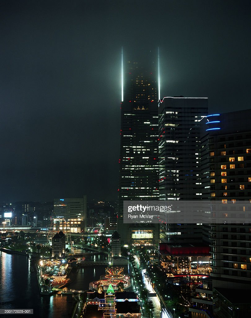 Japan, Yokohama, Minato Mirai, cityscape, night : Stock Photo