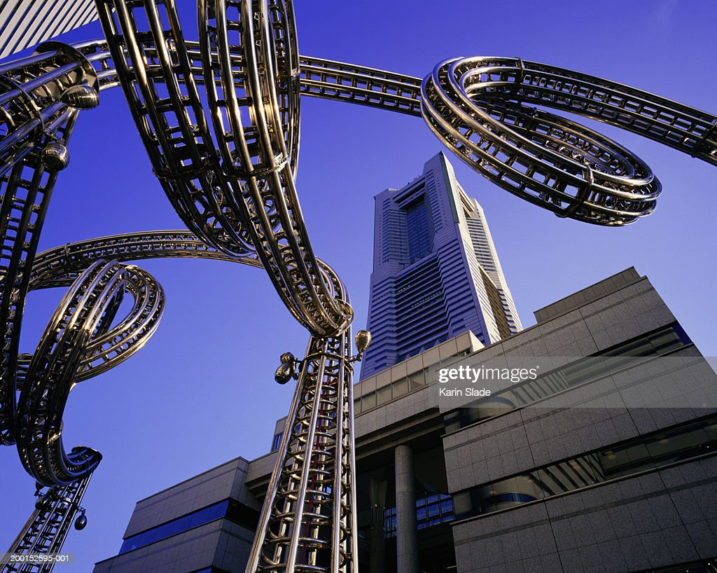 Japan, Yokohama, Minato Mirai, sculpture, low angle view : Stock Photo