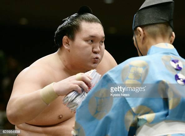 TOKYO Japan Yokozuna Hakuho is seen after beating No 3 maegashira Chiyotairyu at Ryogoku Kokugikan in Tokyo on Sept 21 the seventh day of the Autumn...