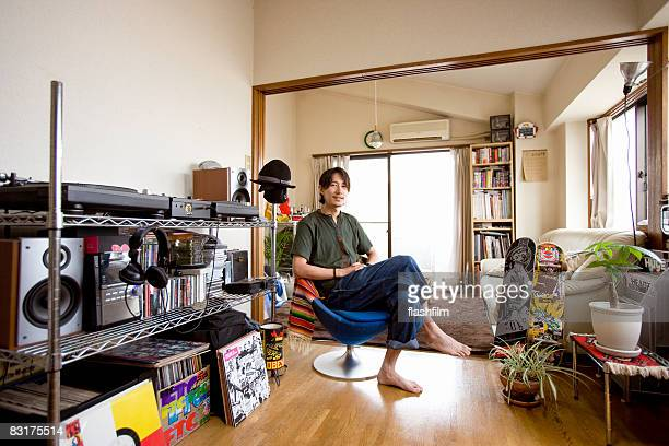 Japanaese man in his aparment