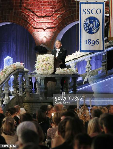 Japanborn British novelist Kazuo Ishiguro author of the 1989 Man Booker Prizewinning 'The Remains of the Day' delivers a speech at a banquet held...