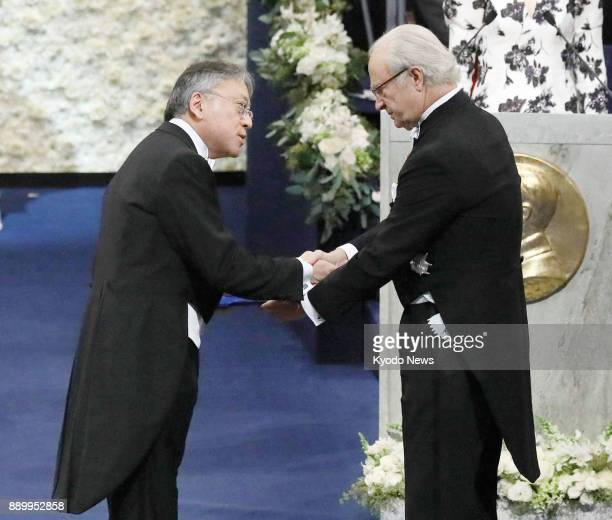 Japanborn British novelist Kazuo Ishiguro receives the 2017 Nobel Prize in literature on Dec 10 from Sweden's King Carl XVI Gustaf at a ceremony in...