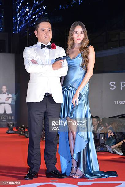 Japanese actor Arita Teppei and ArgentineJapanese fashion model Jessica Michibata showcase designs on the runway at Tokyo Bond Girl Collection for...