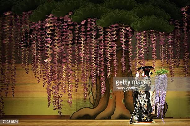 Japanese actor Ebizo Ichikawa XI performs as Spirit of the Wisteria in Fuji Musume as part of Kabuki at Sadlers Wells on May 30 2006 in London...