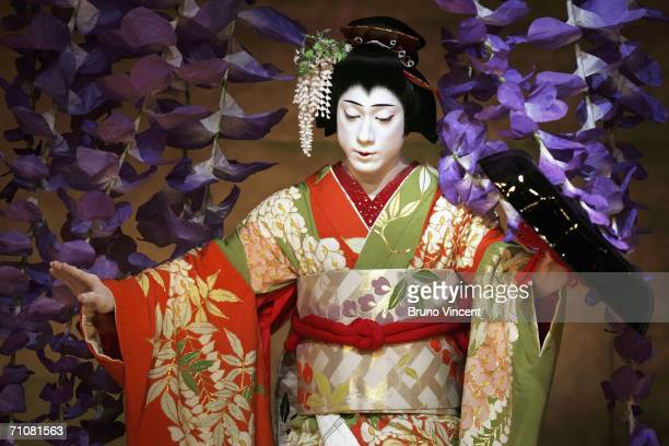 Japanese actor Ebizo Ichikawa XI performs as Spirit of the Wisteria in Fuji Musume as part of Kabuki at Sadlers Wells on May 30 2006 in London...