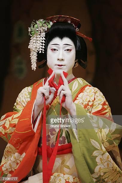 Japanese actor Ebizo Ichikawa XI performs as Spirit of the Wisteria in Fuji Musume as part of Kabuki at Sadlers Wells May 30 2006 in London Enlgnad...