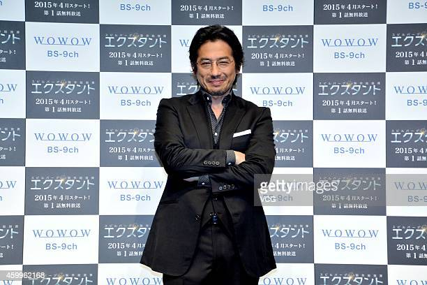 Japanese actor Hiroyuki Sanada attends a press conference for his new new movie 'Extant' on December 4 2014 in Tokyo Japan