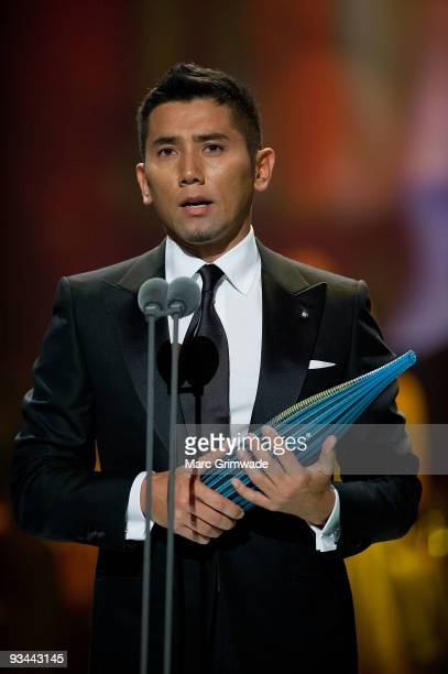 Japanese actor Masahiro Motoki accepting the award for Best Performance by an Actor at the Asia Pacific Screen Awards ceremony at Gold Coast...