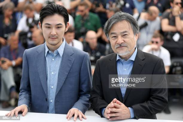 Japanese actor Ryuhei Matsuda and Japanese director Kiyoshi Kurosawa pose on May 21 2017 during a photocall for the film 'Before We Vanish ' at the...