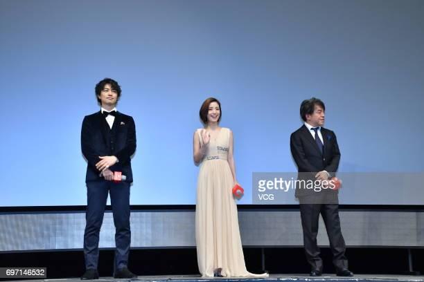 Japanese actor Takumi Saito Japanese actress Aya Ueto and director Hiroshi Nishitani attend the fans meeting of film 'Hirugao Love Affairs in the...