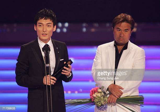 Japanese actor Tsuyoshi Kusanagi of 'The Violin' accepts the award for Best Single Drama Winner during the 1st Seoul Drama Awards 2006 at the Korea...