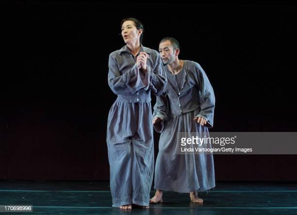 Japanese actors Mariko Ogawa and Makoto Matsushima both from the group Pappa Tarahumara perform 'Island' at the Japan Society New York New York March...